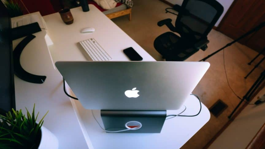 Macbook on stand