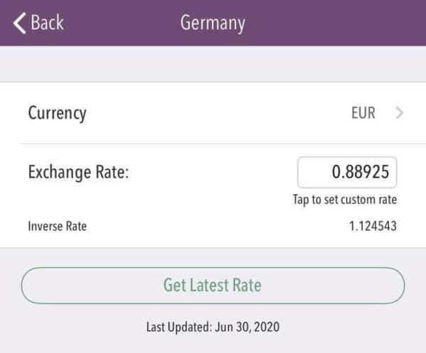 Trail Wallet, setting currency