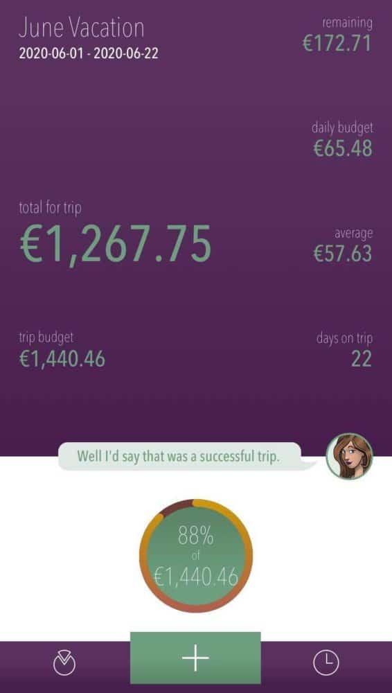 Trip summary in EUR