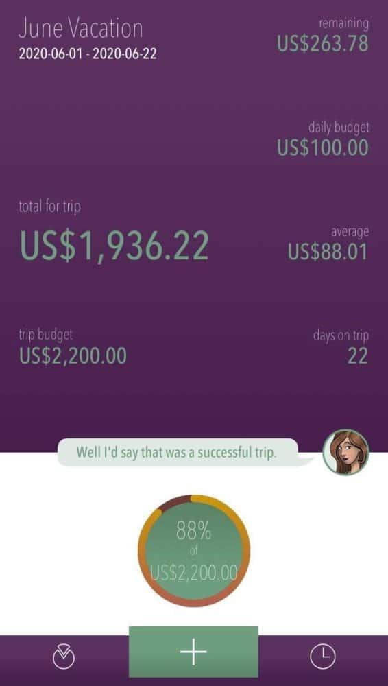 Trip summary in USD