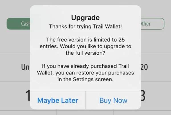 Trail Wallet upgrade screen