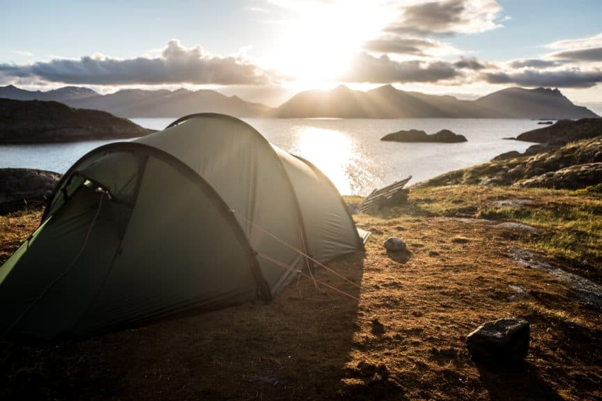 Tent overlooking a bay