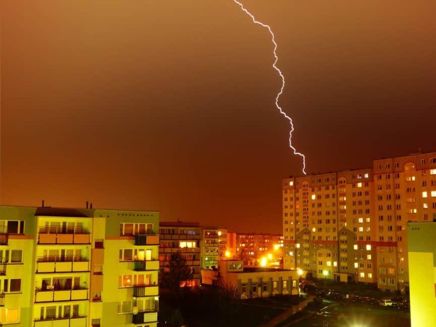 Lightning hitting building