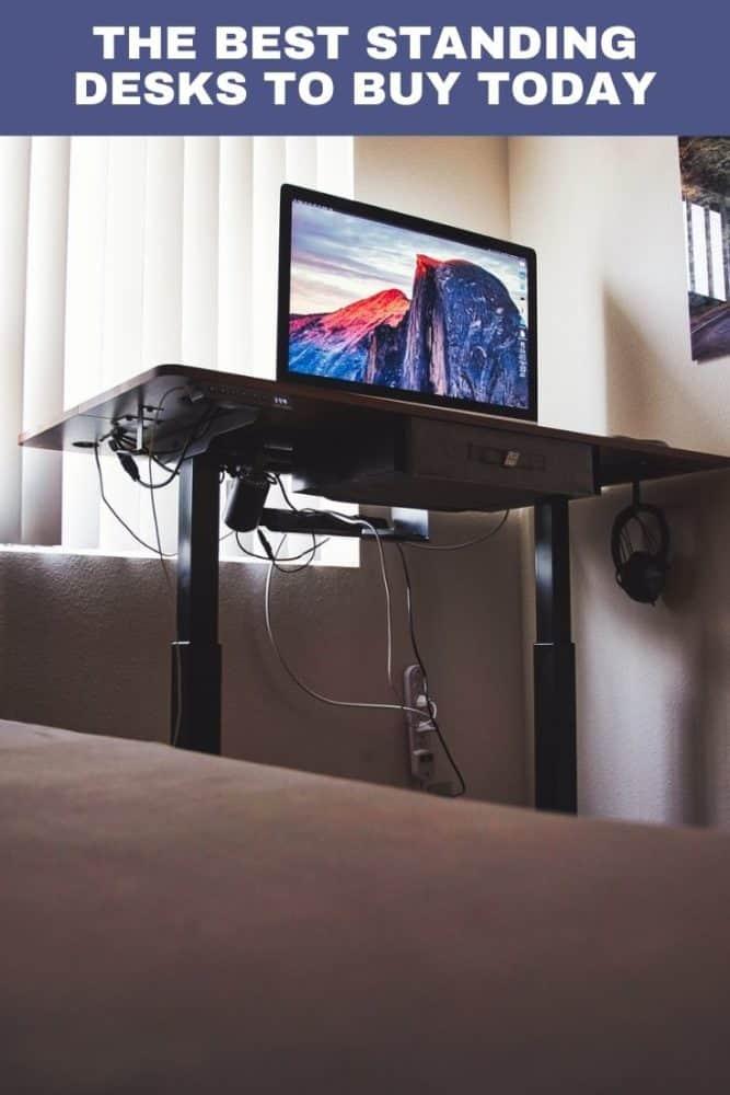 Standing desk in room
