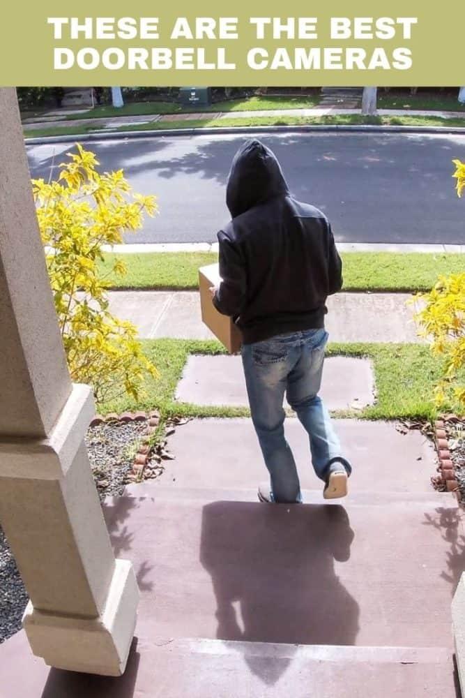 Pinterest image of man stealing package from doorway