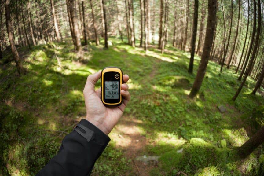 GPS unit held in hand