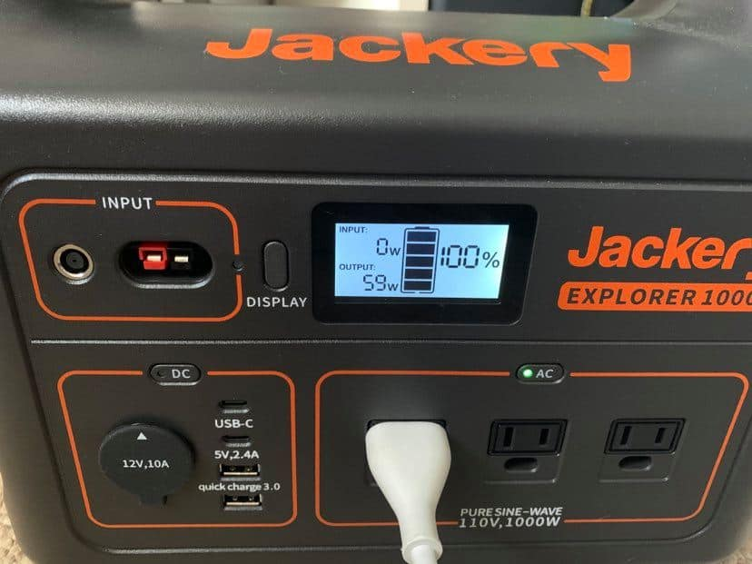 Power station charging with AC light showing
