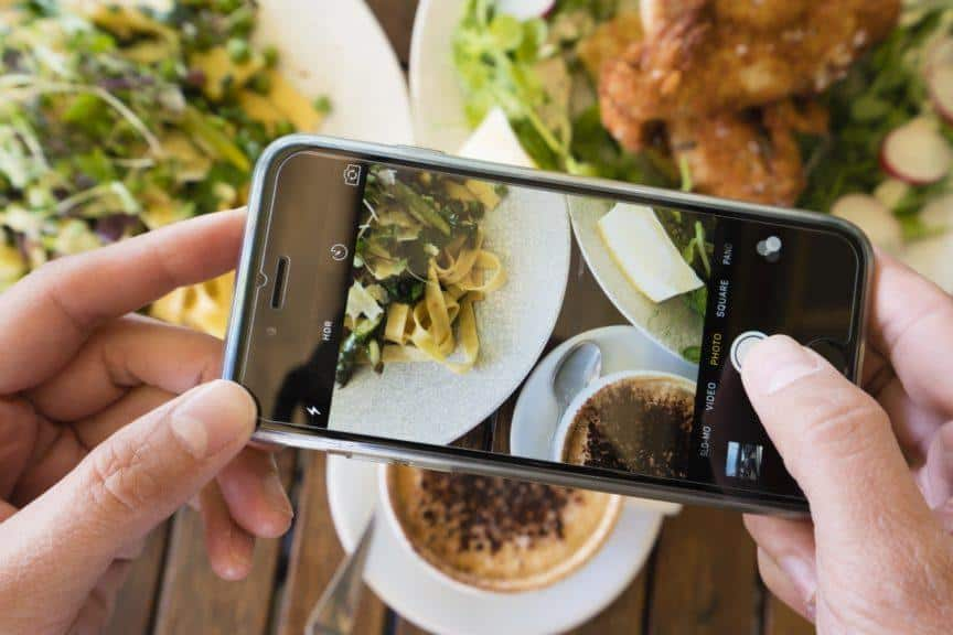 Taking photos of food with phone