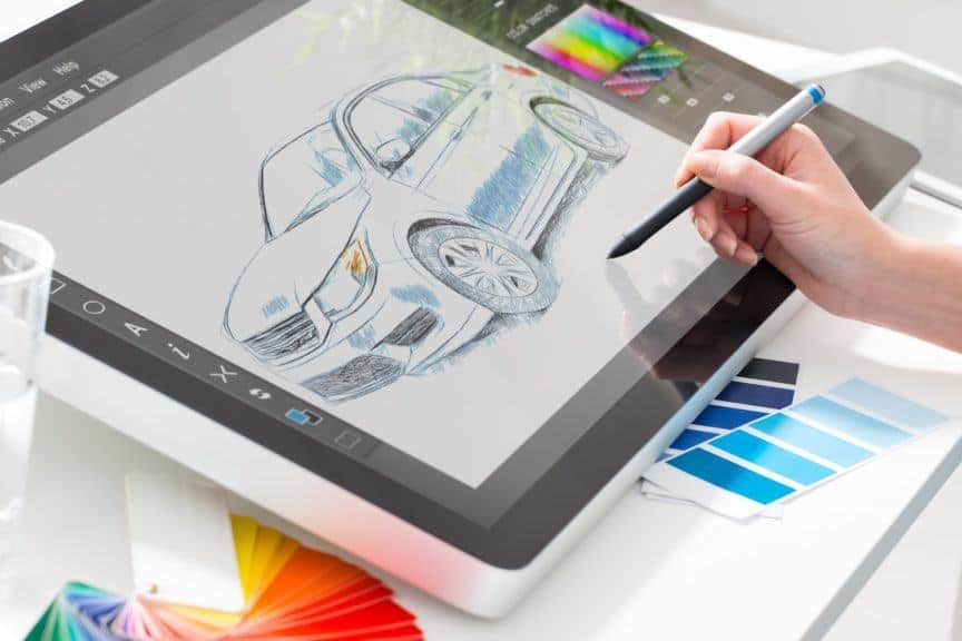 Person drawing on graphics tablet